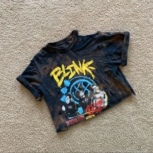 Restyled bleached ripped/torn Blink 182 crop top
